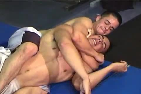 2 White Wrestling In Gym