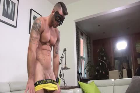 Ripped Masked man Whips It Out And Plays