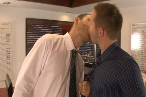 lusty homosexual males take up with the tongue And Hump booties In The Office