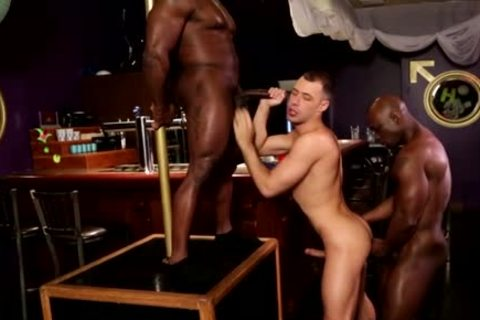 Two Blacks And White Lad Have A Joy A three-some