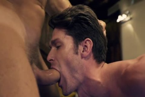 Muscle homosexual threesome With Facial cum