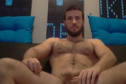 bushy muscular stud Stroking On cam