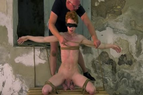attractive Ginger Sub fastened Up For bdsm jerk off Session