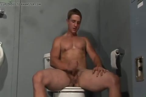 blond Hunk Solo Jerkoff With dildo In Restroom