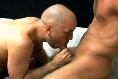 Bald guy sucks a bulky penis & acquires nailed hard